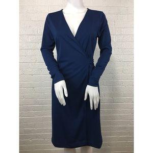 Ann Taylor blue wrap long sleeve dress
